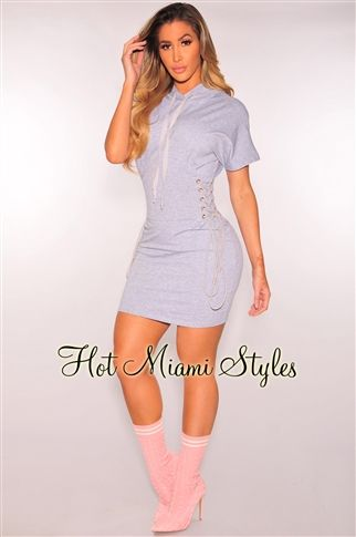 Gray Lace Up Sides Hoodie Dress