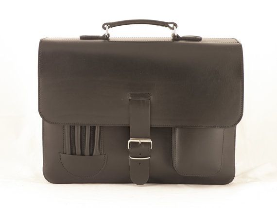 BIG Leather Handcrafted Briefcase  Laptop  by YuffyLeather on Etsy