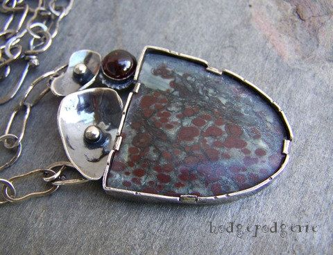 TRANSFORMATION - Oolitic Limestone Sterling Silver Statement Necklace with Garnet on Etsy, $315.00