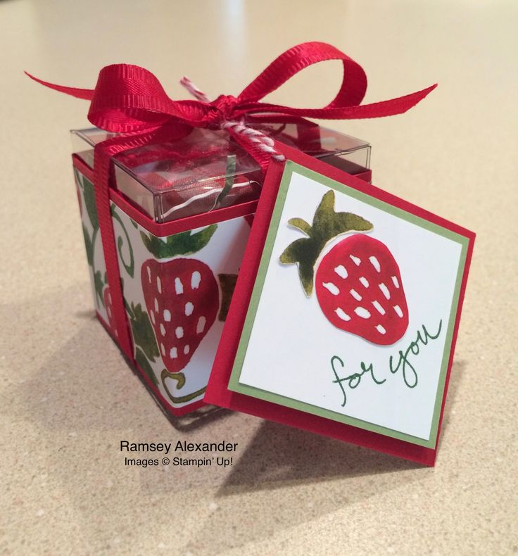 """Stampin Up - Clear Tiny Treat Boxes, Fruit Stand DSP, Real Red and Pear Pizzazz cardstock, Real Red ribbon. The """"for you"""" came from the Sheltering Tree set. http://www.stampinup.net/esuite/home/ramseyalexander/"""
