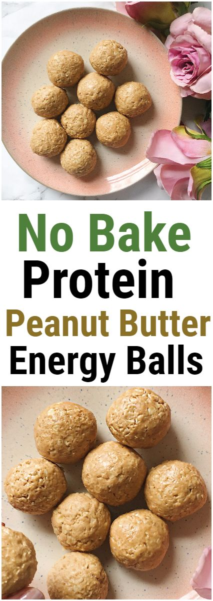 No Bake Protein Peanut Butter Energy Balls for a delicious and healthy snack. Vegan + Gluten Free These delicious peanut butter energy balls are the perfect little snack for a quick boost. With a healthy mix of protein, fats and carbs these are full of nutrition and really delicious too. #peanutbutter #protein #balls #energyballs #blissballs #bites #oats #proteinpowder #healthy #recipe #dessert #snack #easy #simple