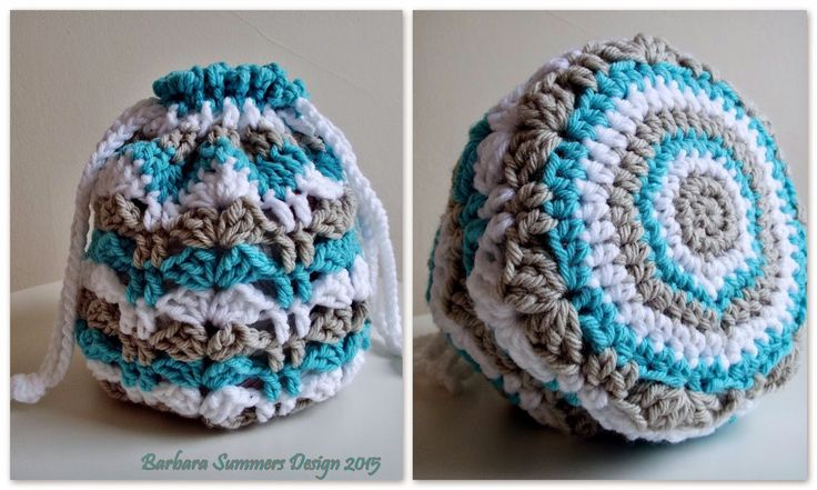 HERE IS A QUICK and EASY pattern for a round drawstring bag using the FANS and POSTS stitch pattern. You can check the blog post about HOW TO CROCHET the SWATCH for the FANS and POSTS HERE PATTERN D