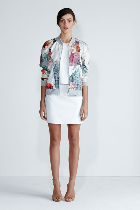 Secret South SS13/14 collection. Cumulus Bomber in Red Floral/Grey. Desert Pea Top and Hightide Skirt in White Leather. www.secretsouth.com.au