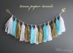 #DIY de papel de seda guirnalda de oro blanco azul para #bodas