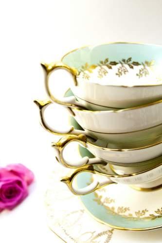 Pretty mint teacups
