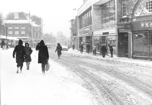Weather /   Norwich Streets  Snowfall on Gentlemen's Walk  Dated 15 February, 1974  Photograph C1396