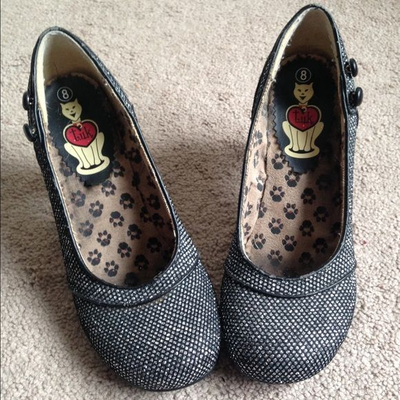 Black and silver sparkly heels Cute pinup style black and silver sparkly heels with piping and button detail. These fit a wider toe box and are so cute on. Tuk Shoes Heels