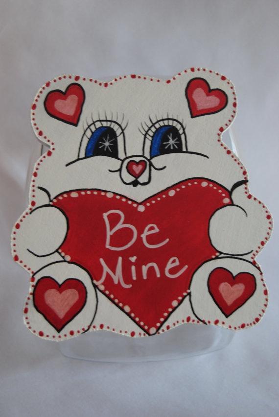 Valentine Teddy Bear Cookie Jar Lid Handmade by MTDesignsCrafts, $20.00