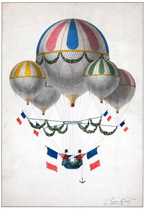 Two passengers aflight in a craft, decorated with French flags, consisting of one large balloon and four smaller balloons. The name of French ballonist Eugène Godard is penned on the bottom right of the image. The original watercolor painting was created between 1850 and 1900.
