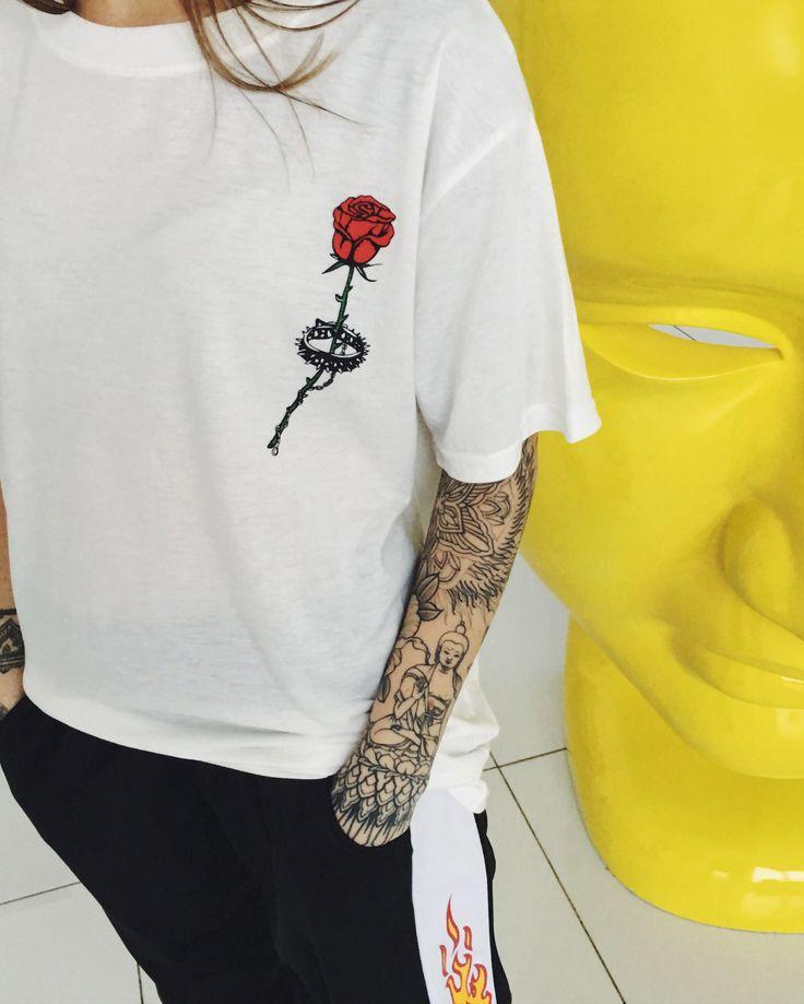 Barbed Rose T shirt boogzel apparel usa uk