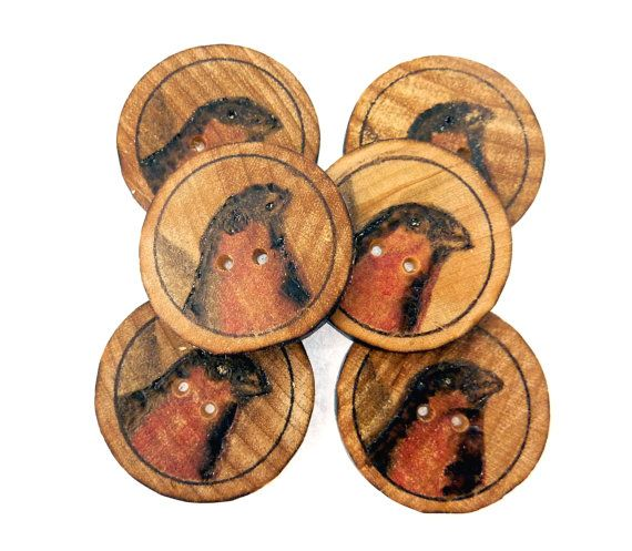 6 Wood Burned Bird Sewing Buttons. 1 or 25 mm by buttonsbyrobin2, $17.99