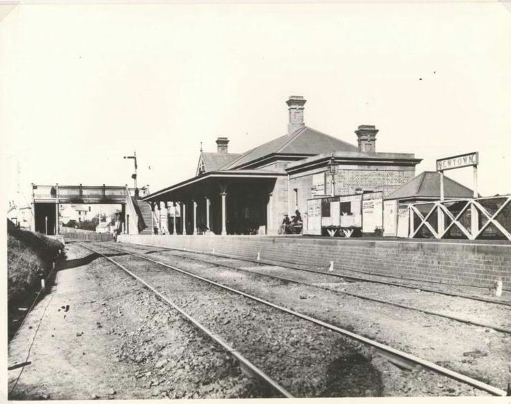 The original Newtown Rsilway Station in 1880.Located to the west of the King Street over-bridge about where Crago's Flour Mills still stands.