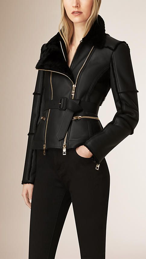 Black Shearling Biker Jacket - Image 1