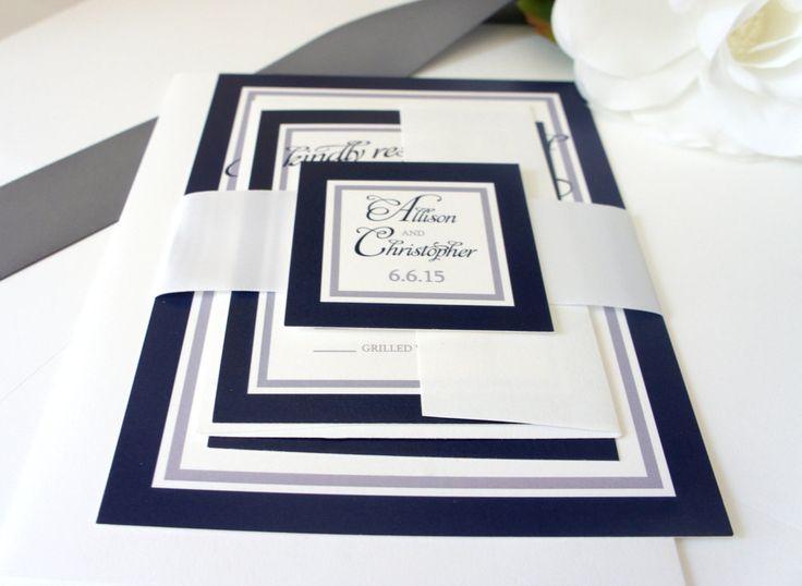 Navy Blue Wedding Invitation - Love the colours