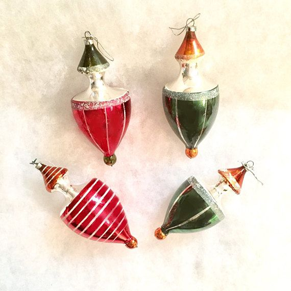 Vintage Christmas Ornament Lot of 4 Red and Green Baubles #Christmas #Ornaments #Vintage #RedandGreen #VintageChristmas