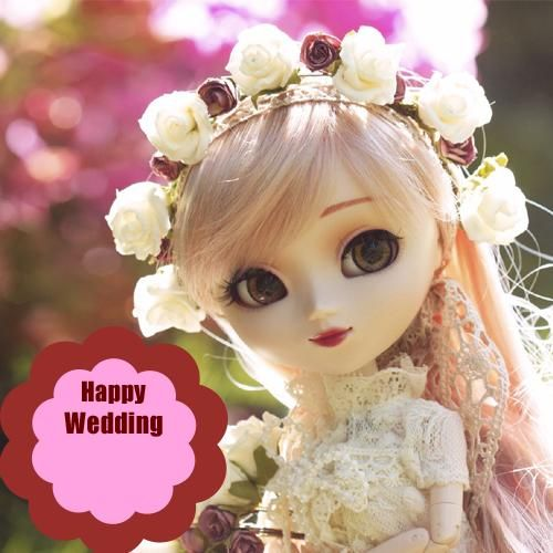 Happy Wedding Wishes Cute Bride Doll Picture With Name