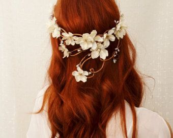 Woodland crown floral hair wreath forest flower by gardensofwhimsy