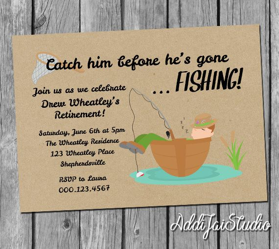 Gone fishing retirement party invitation printable 5x7 4x6 for 4x5 bathroom ideas