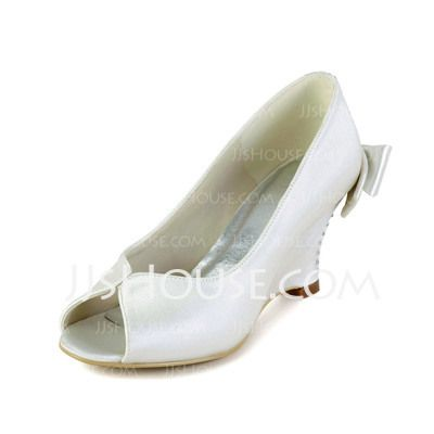 Wedding Shoes - $58.99 - Women's Satin Wedge Heel Peep Toe Sandals With Bowknot Rhinestone (047033127) http://jjshouse.com/Women-S-Satin-Wedge-Heel-Peep-Toe-Sandals-With-Bowknot-Rhinestone-047033127-g33127