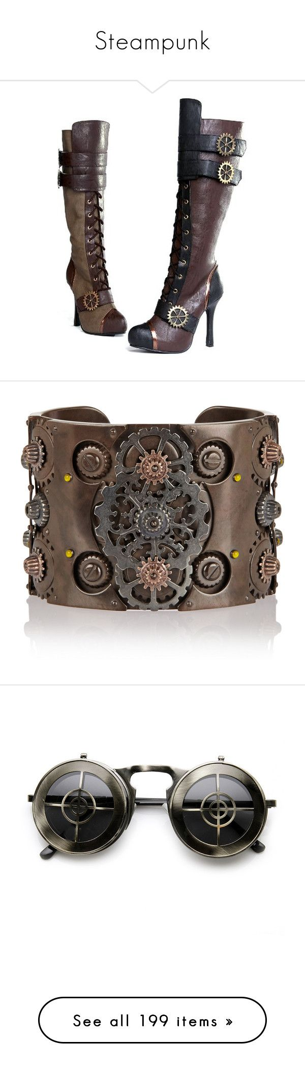 """""""Steampunk"""" by molliemae50 ❤ liked on Polyvore featuring shoes, boots, steampunk, knee high shoes, steam punk shoes, steampunk boots, knee high boots, steam punk boots, jewelry and bracelets"""