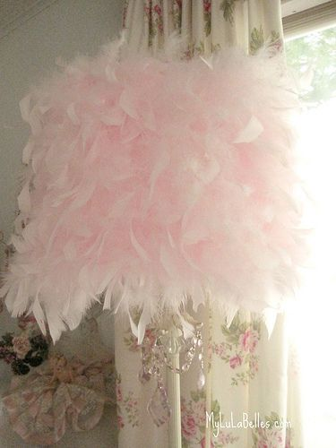 "DIY with a feather boa - Fluffy pink feather lamp shade..doesn't have to just be for a ""little"" girls room...CUTE"