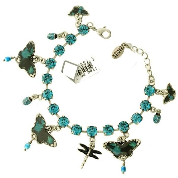 Pilgrim Butterfly Bracelet,Black/Turquoise/Silver featuring polyvore, women's fashion, jewelry, bracelets, silver jewellery, butterfly bangle, swarovski crystal jewelry, turquoise jewellery and silver dragonfly jewelry