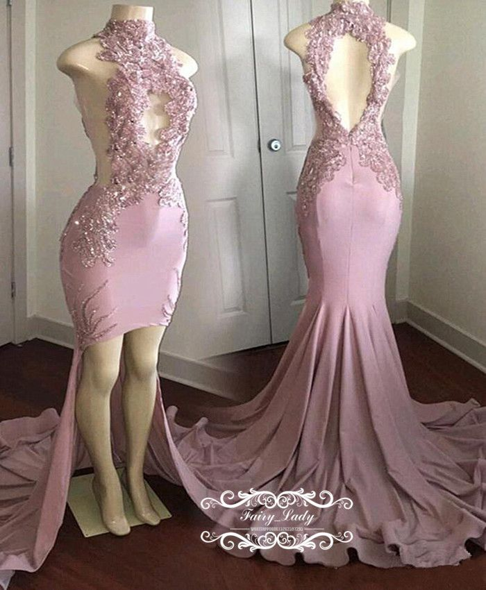11e38083aa97 Light Pink High Low Mermaid Prom Dresses 2018 Lace Appliques Beads Open Back  Long Chapel Train