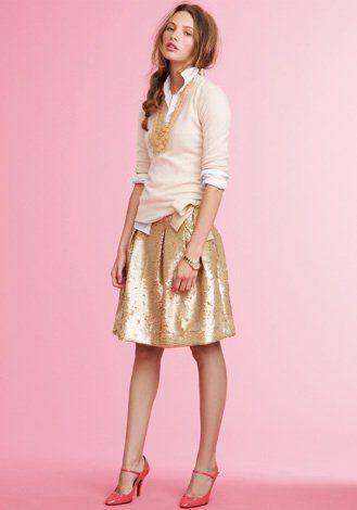 JCrew gold skirt, beige sweater, white button-up, statement necklace, pink heels
