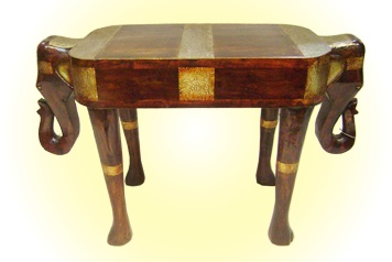 Double-sided Elephant Stool  Embossed Golden Metal Work  MRP - Rs. 4750