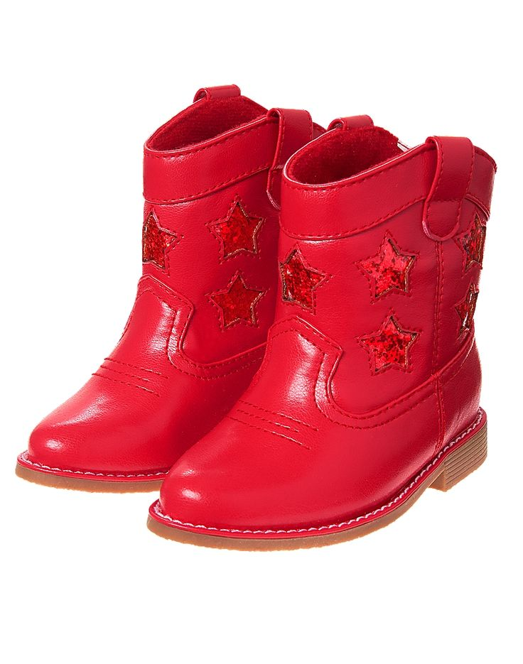 Gymboree Toddler Girl Red White & Cute Glitter Star Cowgirl Boots
