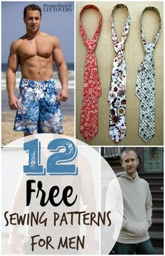 12 Free Sewing Patterns for Men- Looking for sewing patterns for men? Here are some great free sewing patterns that include men's clothing and accessories.