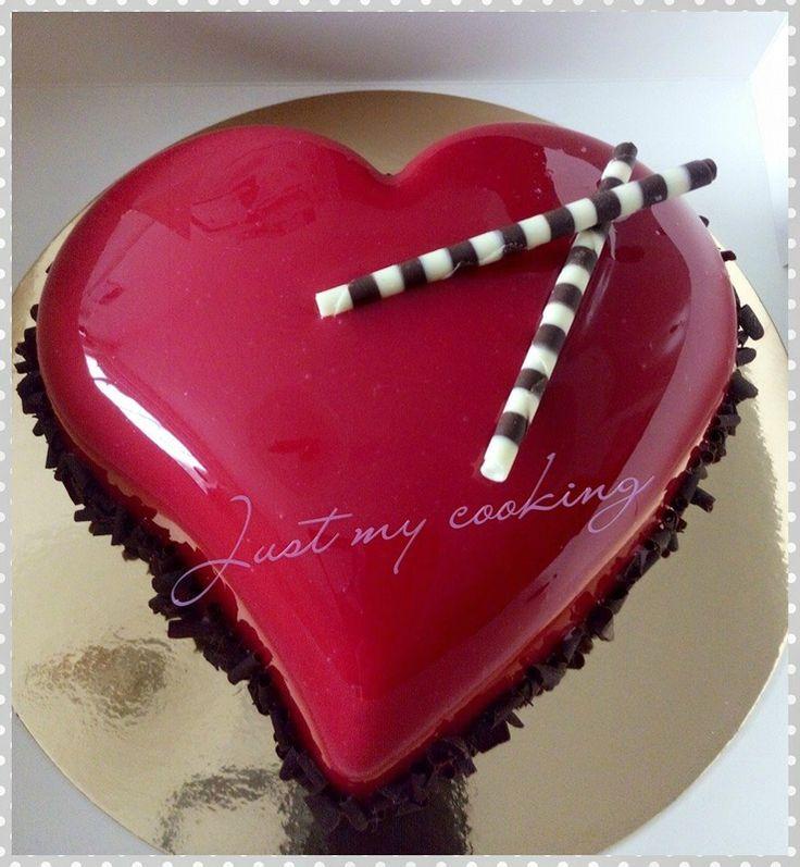 Coeur bavarois chocolat, glaçage miroir