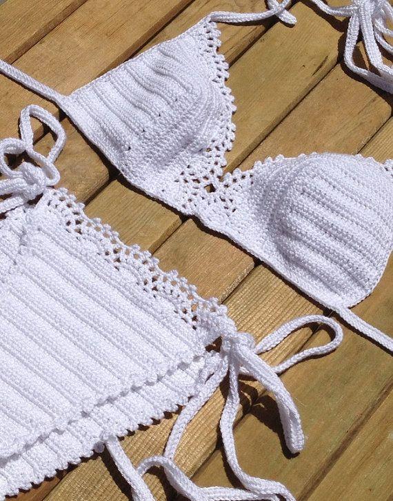 white lace bikini set - bikini bottom -bikini top - tie bikini - swimsuit women crochet bikini beachwear summerwear senoaccessory on Etsy, 50,00 $