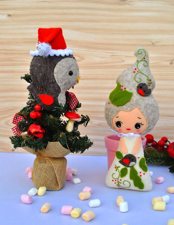 #felt #Christmas #minimez #doll #toy #etsy #baby #decor #nursery #shower #cute