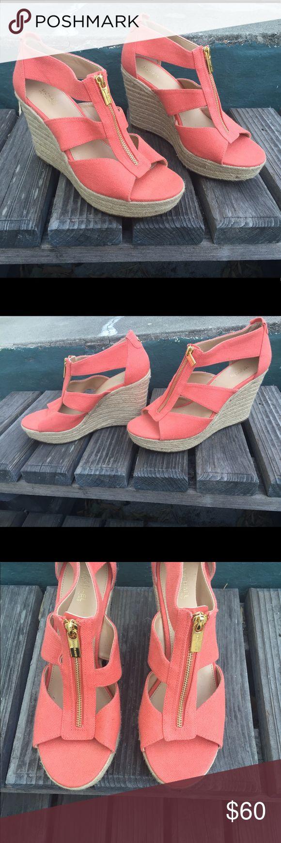 Michael Kors  orange wedge sandal w/zipper,  9 .5 Cute orange wedge sandals by Michael Kors. Size 9.5.  Great fall color . Super cute! NWT Michael Kors Shoes Wedges