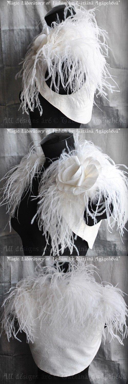 Shrug Bolero Wedding Bridal Ostrich Dupioni Silk /BIRd by TianaCHE, $250.00