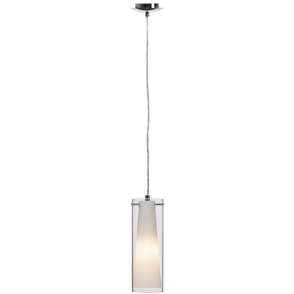 Beacon Lighting - Pinto 1 light double glass pendant in chrome with clear outer glass and opal inner glass diffuser