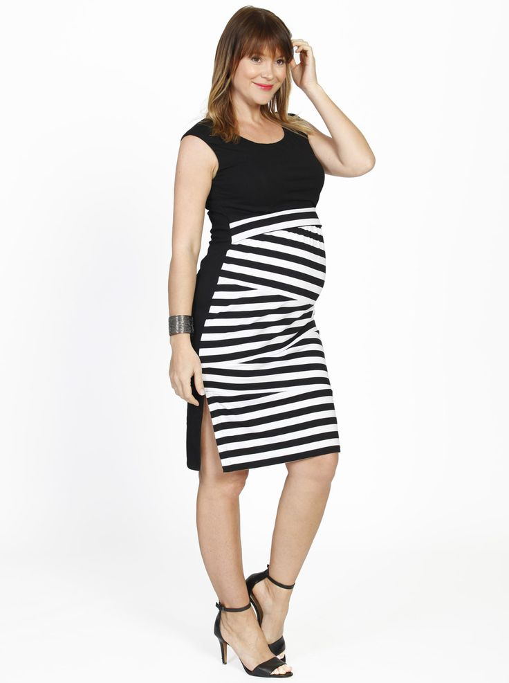 This fashionable dress is perfect for any special occasion. Busy Mummy Zigzag Nursing Fitted Dress in Black Stripes, $59.95.