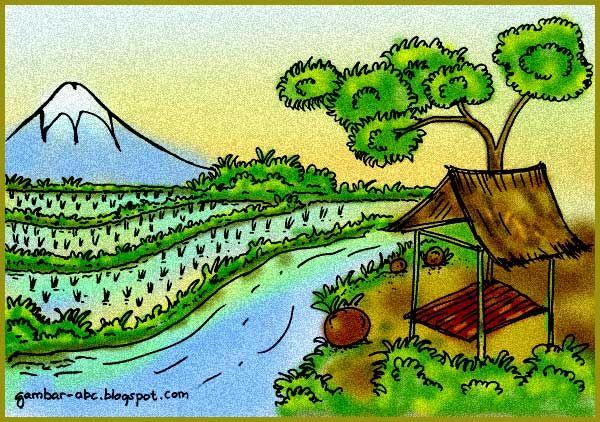 Contoh Mewarnai Gunung Dan Sawah Wwwgambar Mewarnaicom Gambar