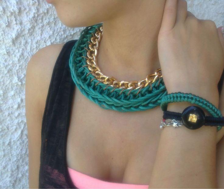Forest green&gold chain  fingerknitted necklace  *fishtail bracelets
