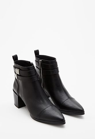 Strapped Faux Leather Booties | FOREVER21 - 2000133405  pair with skinnies and roll up to reveal cool socks  with wide brimmed hat and structured jacket/coat