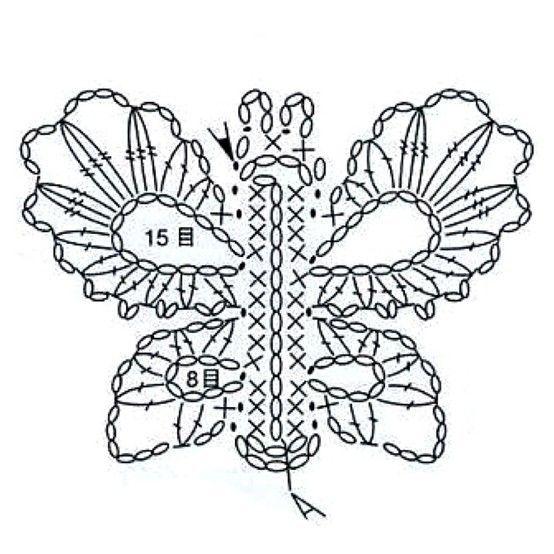 Crochet Butterfly - Chart ❥ 4U // hf | CrochetHolic - HilariaFina ...