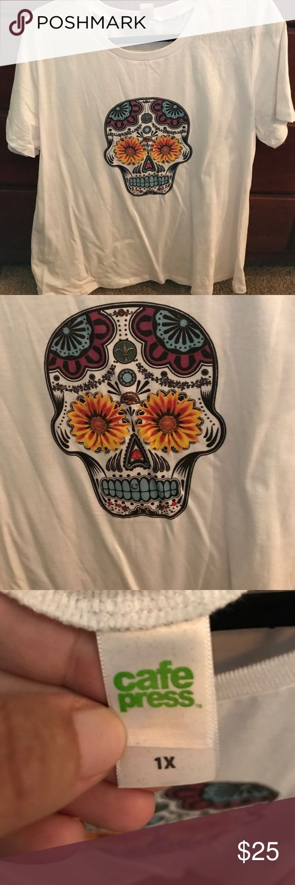 New WOT Cafe Press Sugar Skull t shirt 1X Cute new sugar skull white t shirt (Did not have tags attached, ordered it online) cafe press Tops Tees - Short Sleeve