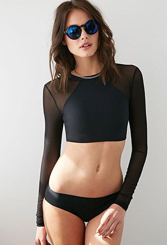 Mesh Rashguard Swimsuit Top | Forever 21 - 2000080630 Something like this, but with long enough sleeves, underwire and a solid back.