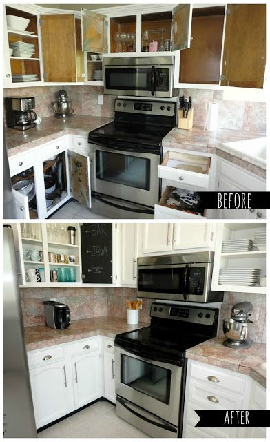 10 steps to paint your kitchen cabinets inside AND out! This is so great for old, outdated cabinetry!