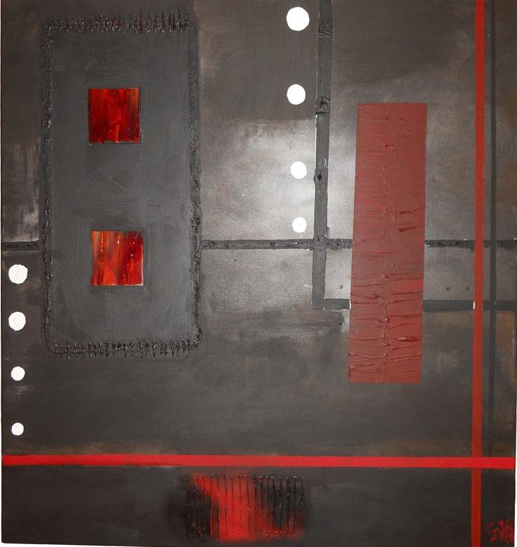 RED CODE      Tableau unique format 100x100cm peint en 2010  Technique : Peinture à l'acrylique et peinture à la bombe – Utilisation de verre et résine  La toile est montée sur châssis bois et protégée par un vernis afin de donner une très bonne longévité.
