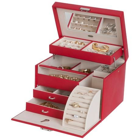 Mele & Co. Red Raleigh Drop Front Locking Jewelry Box