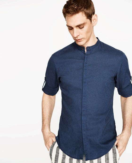 Image 2 of LINEN SHIRT WITH ROLLED TAB SLEEVES from Zara