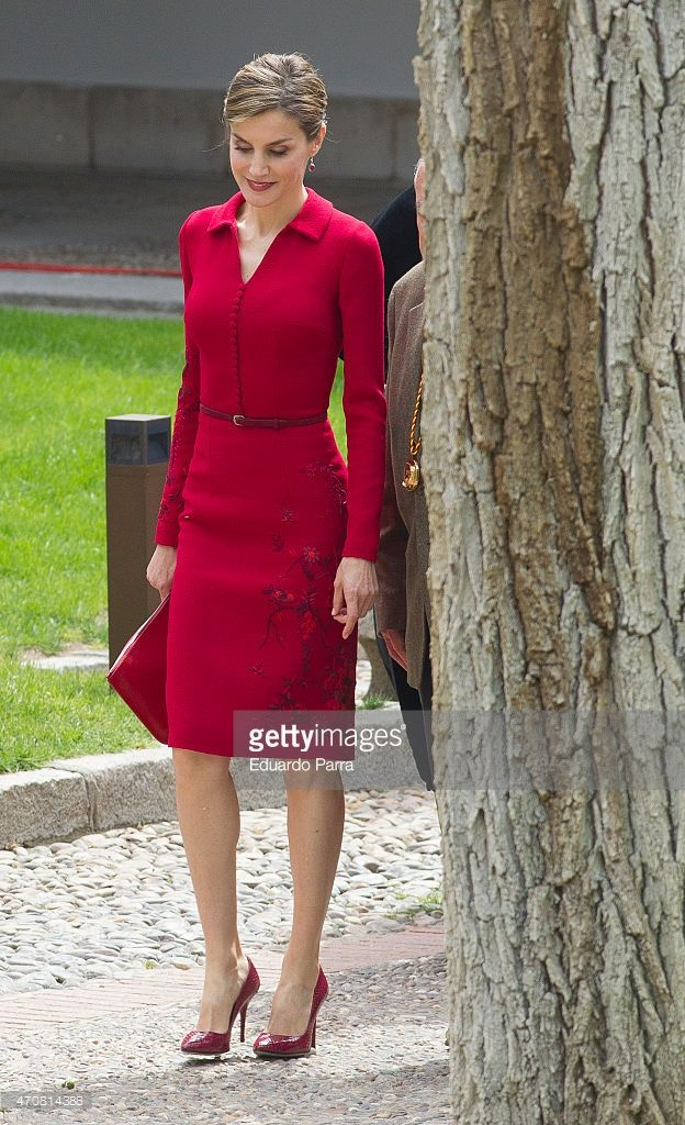 Queen Letizia of Spain poses for photographers at the University of Alcala de Henares for the Cervantes Prize award ceremony on April 23, 2015 in Madrid, Spain.