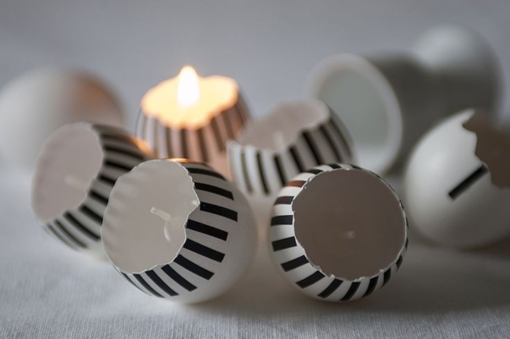 Easter eggs decorated with masking tape.